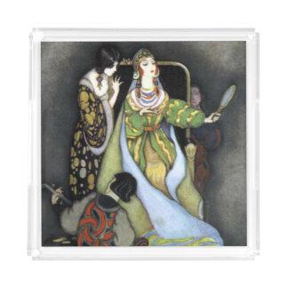 Bandeja Acrílica Arte oscuro del vintage de la reina del cuento de