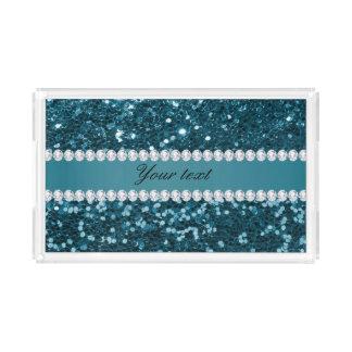Bandeja Acrílica Brillo azul y diamantes del trullo oscuro falso