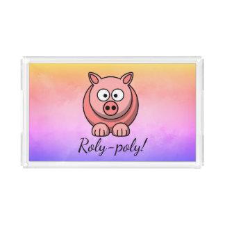 Bandeja Acrílica cerdo Roly-polivinílico Pigling Piggywiggy del