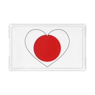 Bandeja Acrílica Corazón de la bandera de Japón