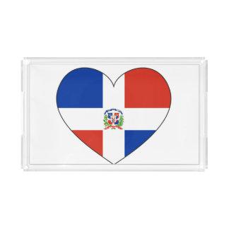Bandeja Acrílica Corazón de la bandera de la República Dominicana