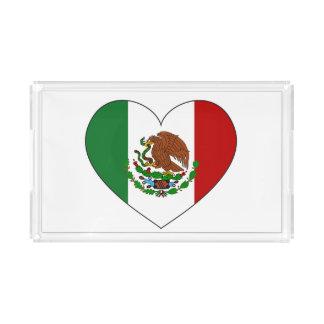Bandeja Acrílica Corazón de la bandera de México