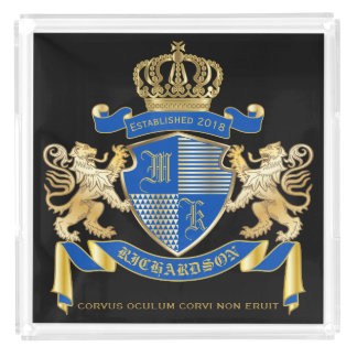 Bandeja Acrílica Cree su propio emblema azul del león del oro del
