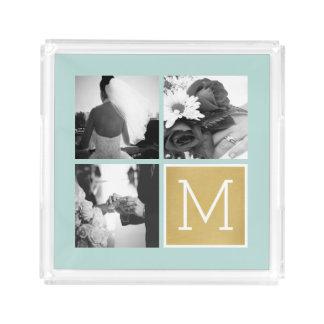 Bandeja Acrílica Cree su propio monograma del collage de la foto