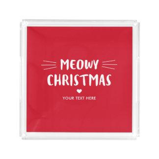 Bandeja Acrílica Día de fiesta lindo del navidad el   de Meowy del