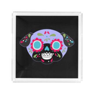 Bandeja Acrílica Diseño del cráneo del azúcar del barro amasado de