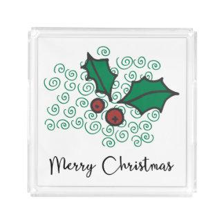 Bandeja Acrílica Diseño rojo y verde moderno del acebo del navidad