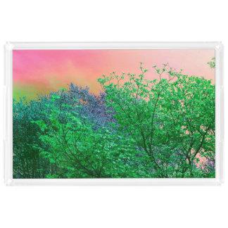 Bandeja Acrílica El neón vibrante del surrealismo colorea los tops