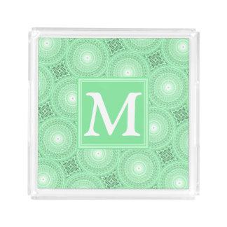 Bandeja Acrílica El verde de la primavera del monograma circunda el