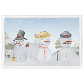 Bandeja Acrílica Escena escarchada de la nieve del invierno del