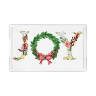 Bandeja Acrílica Escritura floral elegante simple de la alegría de