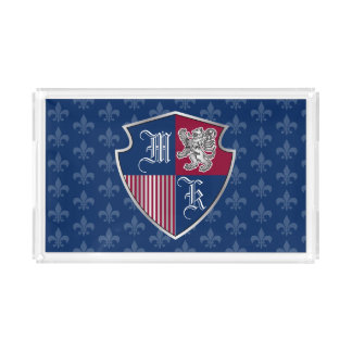 Bandeja Acrílica Escudo de plata del emblema del monograma del