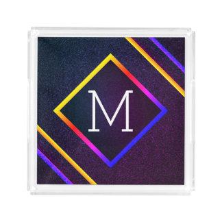 Bandeja Acrílica Esquemas elegantes de la púrpura y del arco iris