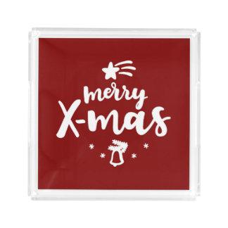 Bandeja Acrílica Feliz Navidad roja y blanca