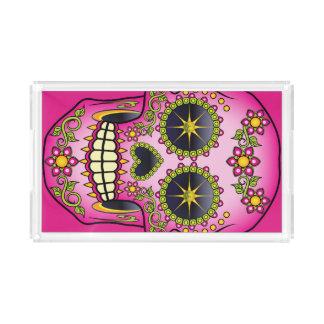 Bandeja Acrílica Floral magenta del cráneo del azúcar