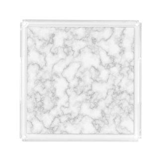 Bandeja Acrílica Fondo de piedra veteado de mármol del blanco gris