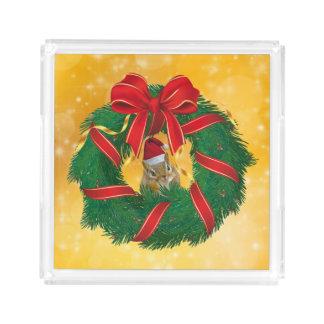 Bandeja Acrílica Guirnalda linda del navidad del Chipmunk