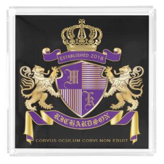 Bandeja Acrílica Haga su propio emblema de la corona del monograma
