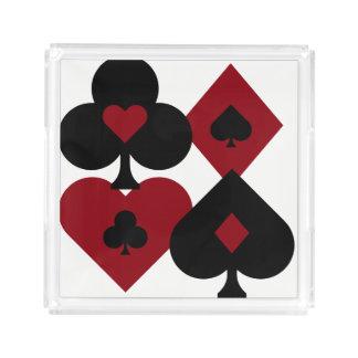 Bandeja Acrílica Juegos rojos y negros de la baraja del póker