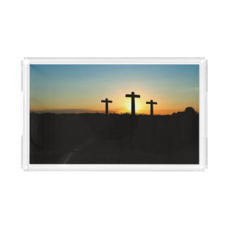 Bandeja Acrílica Las cruces de la crucifixión en la puesta del sol