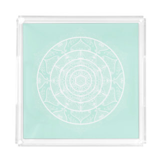 Bandeja Acrílica Mandala del vidrio del mar