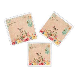 Bandeja Acrílica Moda lamentable, pájaro, mariposa, cordón, floral,