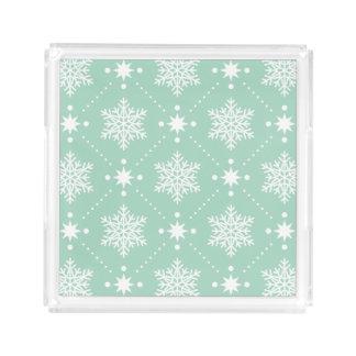 Bandeja Acrílica Modelo blanco del navidad de los copos de nieve de