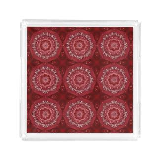 Bandeja Acrílica Modelo rojo y blanco de la mandala