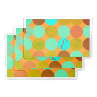 Bandeja Acrílica Monograma de los círculos del verde y del naranja