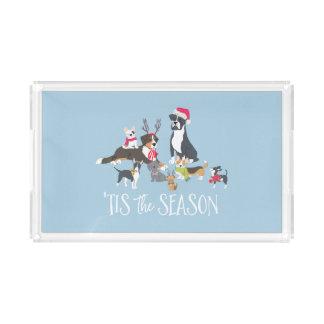 """Bandeja Acrílica """"Navidad Perro-Temático de las patas de Santa"""""""