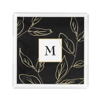 Bandeja Acrílica Oro negro y falso elegante botánico con el