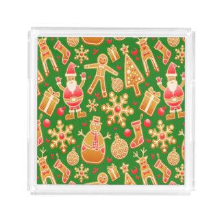 Bandeja Acrílica Pan de jengibre festivo de Santa y del muñeco de