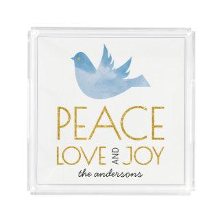 Bandeja Acrílica Paz del oro, amor, navidad de la paloma de la