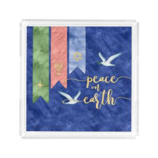 Bandeja Acrílica Paz en día de fiesta inclusivo de la acuarela de