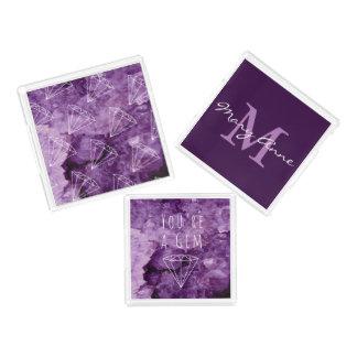 Bandeja Acrílica Piedras preciosas Amethyst púrpuras modernas de