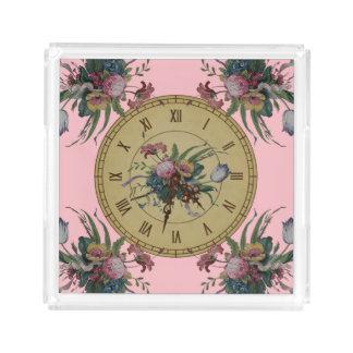 Bandeja Acrílica Reloj del vintage con las flores