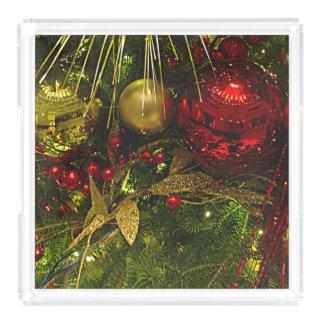 Bandeja Acrílica Rojo del árbol de navidad y ornamentos del oro que