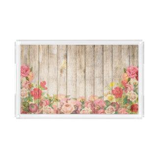 Bandeja Acrílica Rosas románticos rústicos del vintage de madera