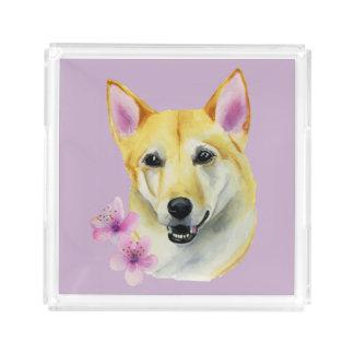 Bandeja Acrílica Shiba Inu con la pintura de la acuarela de Sakura