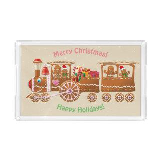 Bandeja Acrílica Tren del vapor del navidad del pan de jengibre