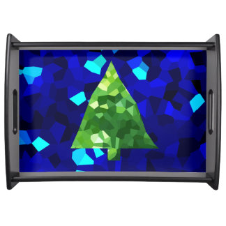 Bandeja Árbol de navidad moderno azul del día de fiesta