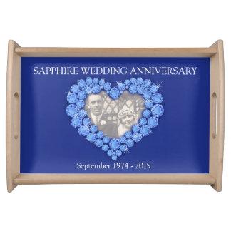 Bandeja azul del corazón del aniversario de boda