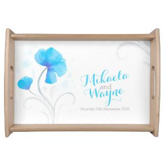 Bandeja azul personalizada del boda de la flor del