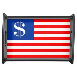 Bandeja bandera Estados Unidos u del símbolo del dólar del