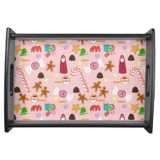 Bandeja Bastones y chocolates de caramelo en rosa