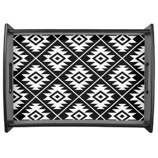 Bandeja Blanco grande estilizado de Ptn del símbolo azteca