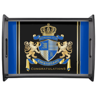 Bandeja Cree su propio emblema azul del león del oro del