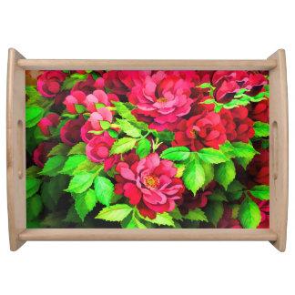 Bandeja de la flor del rosa rojo