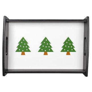 Bandeja de la porción con el árbol de navidad con