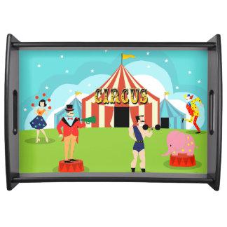 Bandeja de la porción del circo del vintage